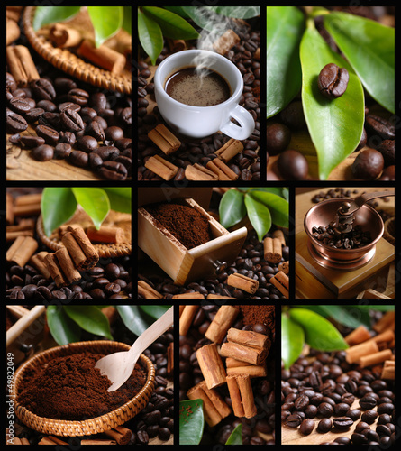 Foto op Plexiglas Cafe composizione di nove foto a tema caffè