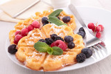 waffles and fruits