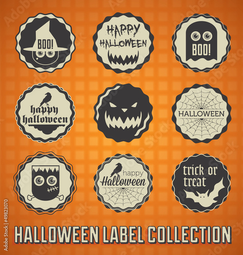 Vector Set: Vintage Happy Halloween Labels and Icons