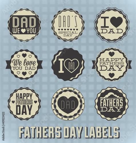 Vector Set: Vintage Happy Fathers Day Labels and Icons
