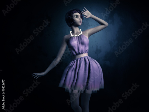 Girl in dark blue room