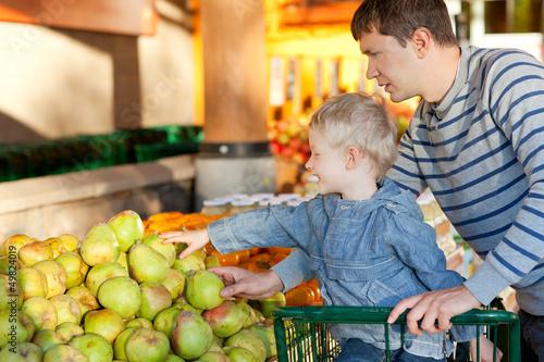 family at the market