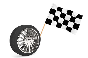 Wheel with racing flag
