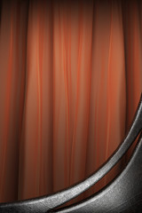Metal on red curtain