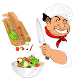 Funny Chef and fresh vegetable salad for vegetarian Gourmet
