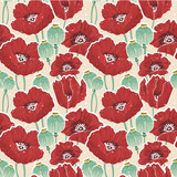 Spring floral seamless pattern with poppy
