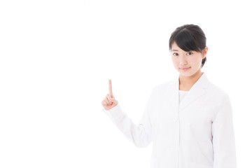 a young asian doctor showing on white background