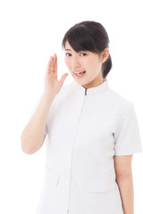 a young asian nurse calling on white background