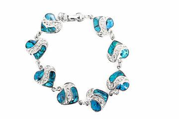 female bracelet with hearts isolated on white