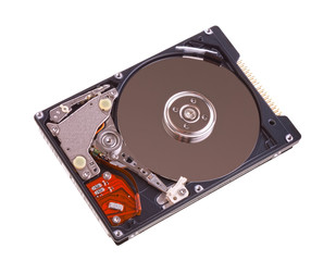 Notebook hard drive disc on white background