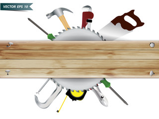 Carpentry, construction hardware tools collage