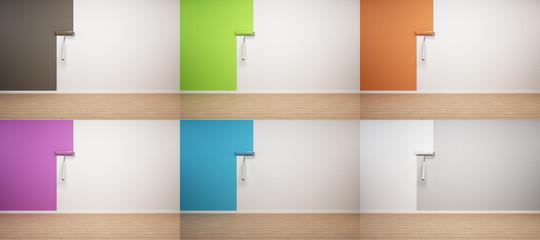 Wand wird gestrichen - braun,grün,orange,violett,blau,weiss