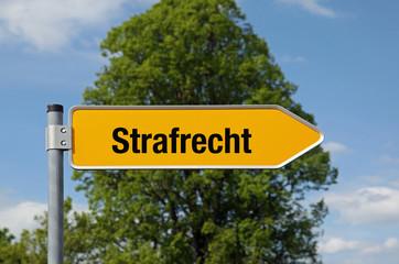 Gelber Pfeil mit Baum STRAFRECHT