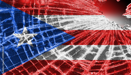 Broken ice or glass with a flag pattern, Puerto Rico