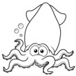illustration of squid cartoon - Coloring book