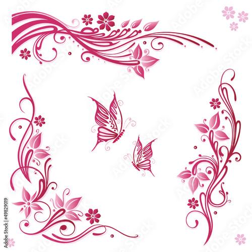 Sommer, frame, Blätter, Laub, Ranke, pink, set