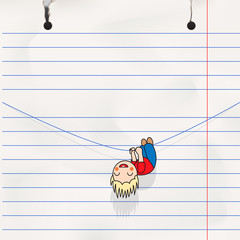 Kid hanging on the rope, notebook page, vector Eps10 image.