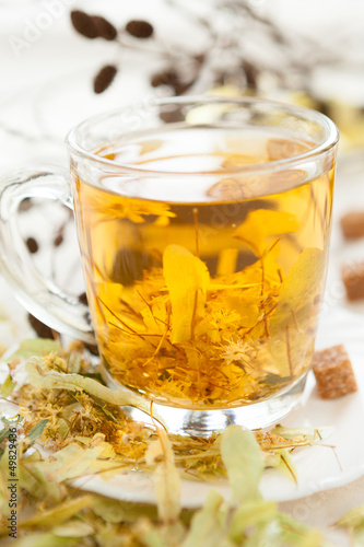 Vitamin hot tea from lime blossom