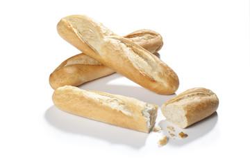golden baked baguette isolated on white background