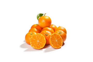 fresh tangerines orange isolated on white background