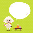 Sheep Handcart Speech Bubble Green Dots