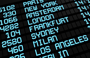 Airport Board International Destinations