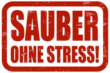 Grunge Stempel rot SAUBER OHNE STRESS