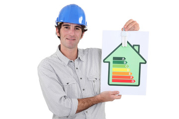 Laborer showing energy rating sign