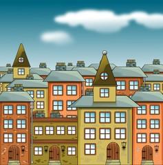 Illustration einer Altstadt - Comic Style