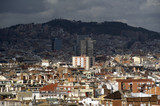 Panoramic view from Montjuic park in Barcelona poster