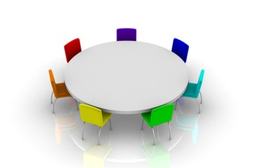Round table. White background, 3d render