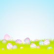 Easter Background Meadow 16 Easter Eggs Pastel