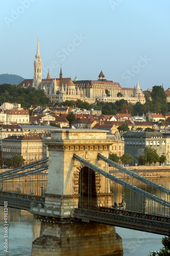 View of Buda and Chain bridge in early morning