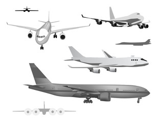 grey airplanes collection isolated on white