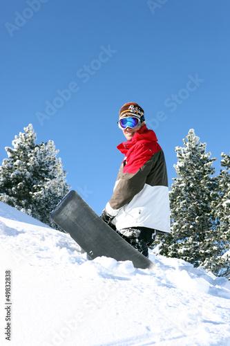 Snowboarder posing