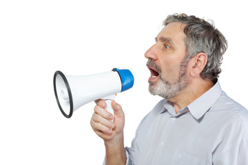 An elderly man says something into a megaphone