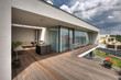 timber pool deck on modern home terrace - 49833687