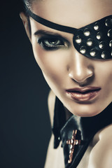 sexy woman with eye-patch