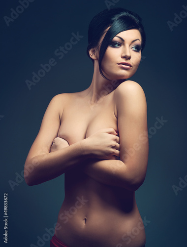 sexy naked woman in dark