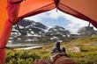 Leinwanddruck Bild - Ein Blick aus dem Zelt - nach einer langen Wanderung