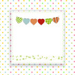 Polka dot background with panel and bunting