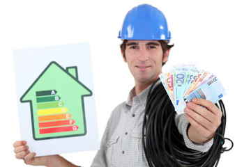 electrician showing banknotes