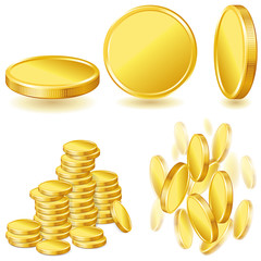 Collection of illustrations, icons and gold coins.