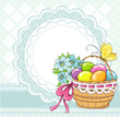 Easter vintage cards with basket and eggs