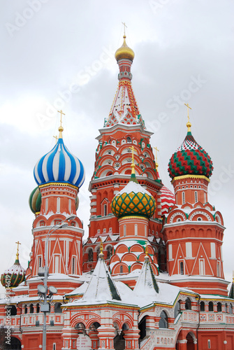 Saint Basil Cathedral in winter. Red Square, Moscow.
