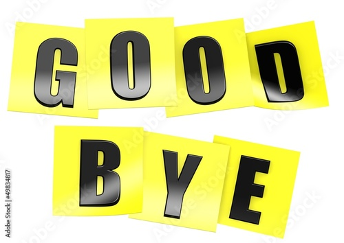 Good bye in yellow note
