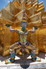 Giant statue of a beautiful Golden Pagoda in Wat Phra Kaew