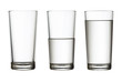 tall empty, half and full glass of water isolated on white with