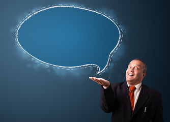 crazy businessman presenting speech bubble copy space