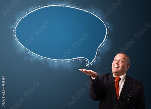 crazy businessman presenting speech bubble copy space